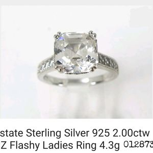 STUNNING 2CT CZ sterling silver ring s7.2